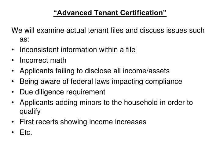 Advanced tenant certification1
