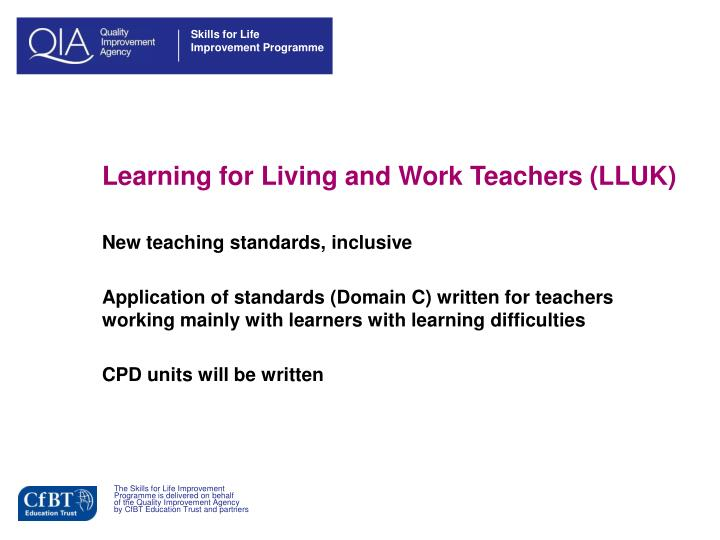 Learning for Living and Work Teachers (LLUK)