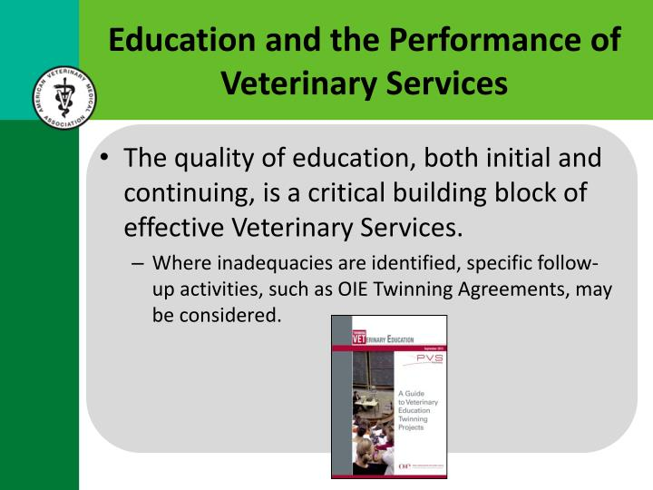 Education and the Performance of Veterinary Services