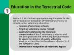 education in the terrestrial code