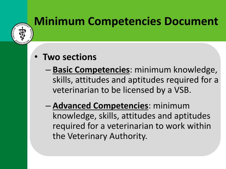 Minimum Competencies Document