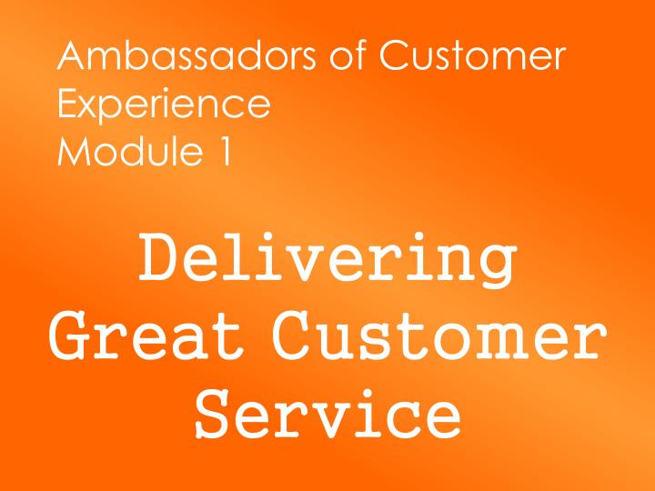 Ambassadors of customer experience module 1