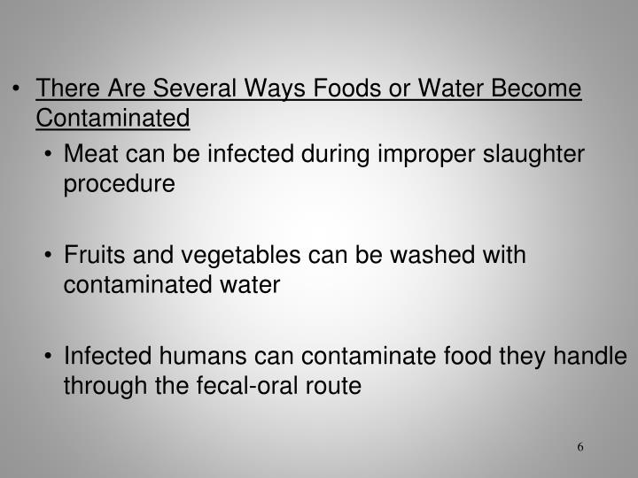 There Are Several Ways Foods or Water Become Contaminated