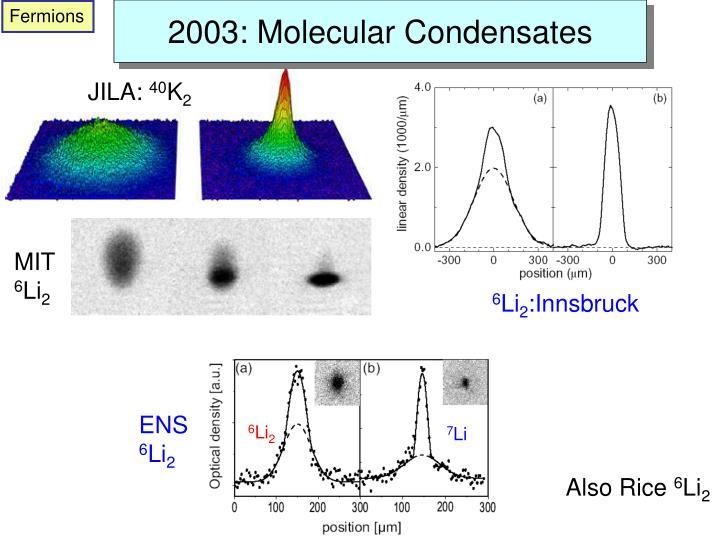 2003: Molecular Condensates