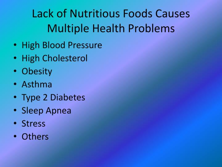 Lack of Nutritious Foods Causes Multiple Health Problems