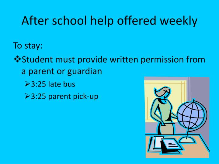 After school help offered weekly
