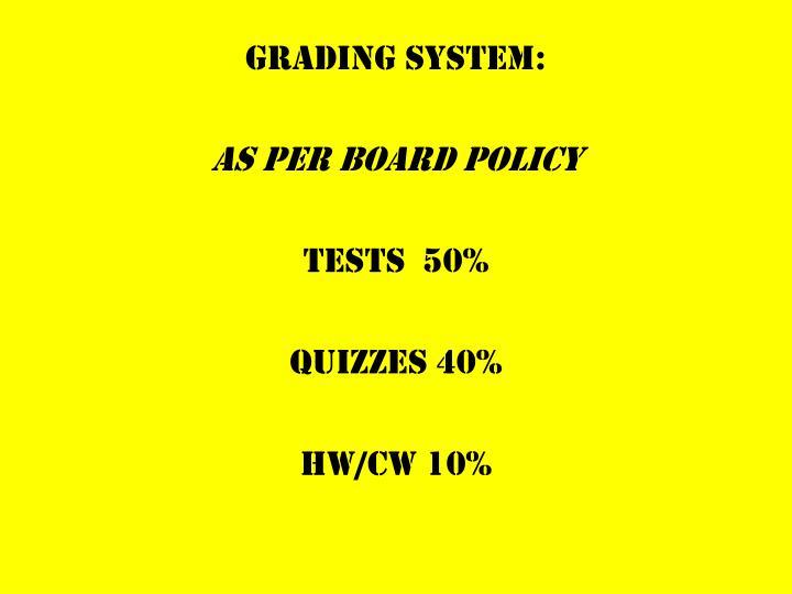 GRADING SYSTEM: