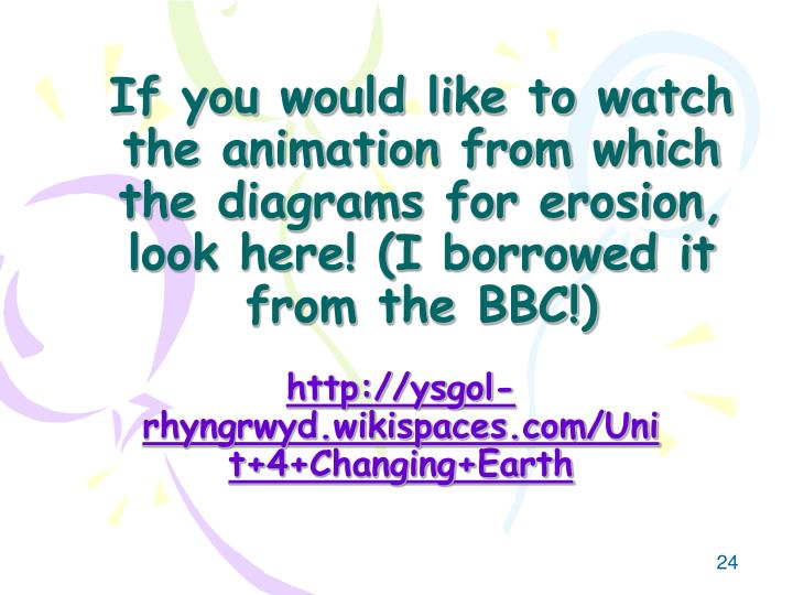 If you would like to watch the animation from which the diagrams for erosion, look here! (I borrowed it from the BBC!)