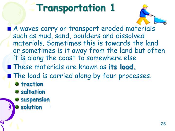 A waves carry or transport eroded materials such as mud, sand, boulders and dissolved materials. Sometimes this is towards the land or sometimes is it away from the land but often it is along the coast to somewhere else