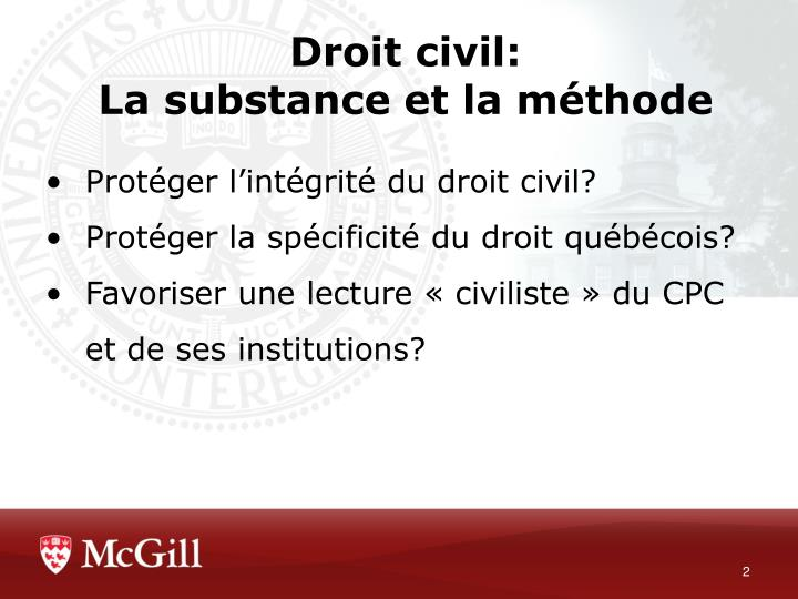 Droit civil la substance et la m thode