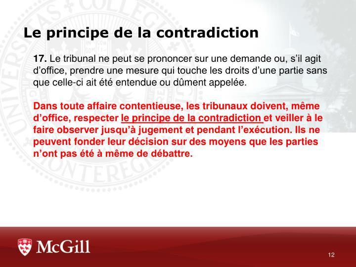 Le principe de la contradiction
