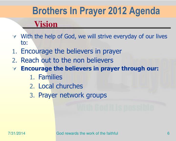 Brothers In Prayer 2012 Agenda