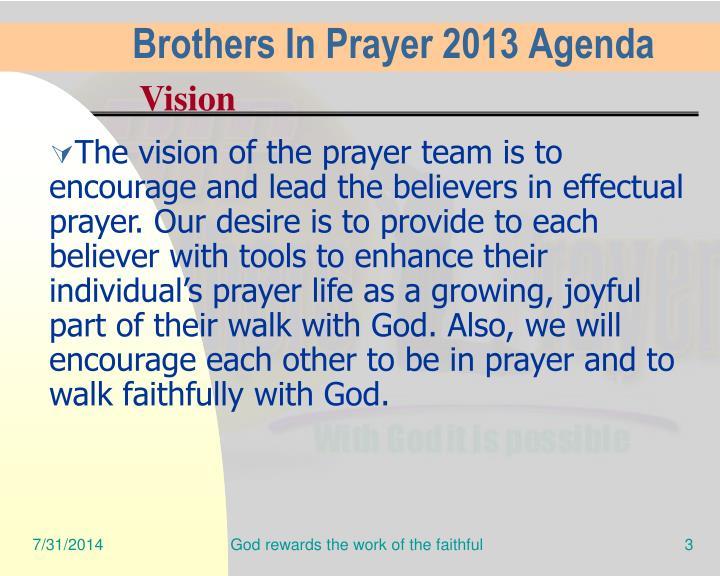 Brothers In Prayer 2013 Agenda