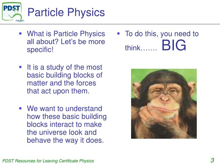 What is Particle Physics all about? Let's be more specific!