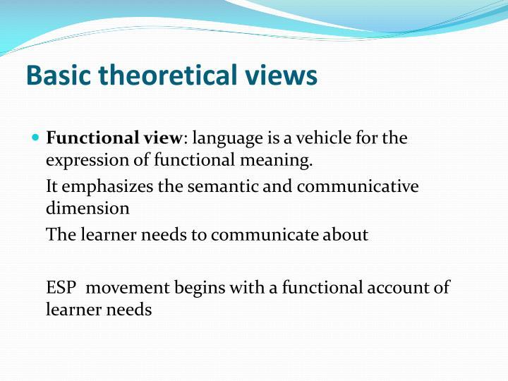 Basic theoretical views