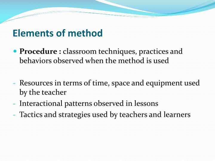 Elements of method