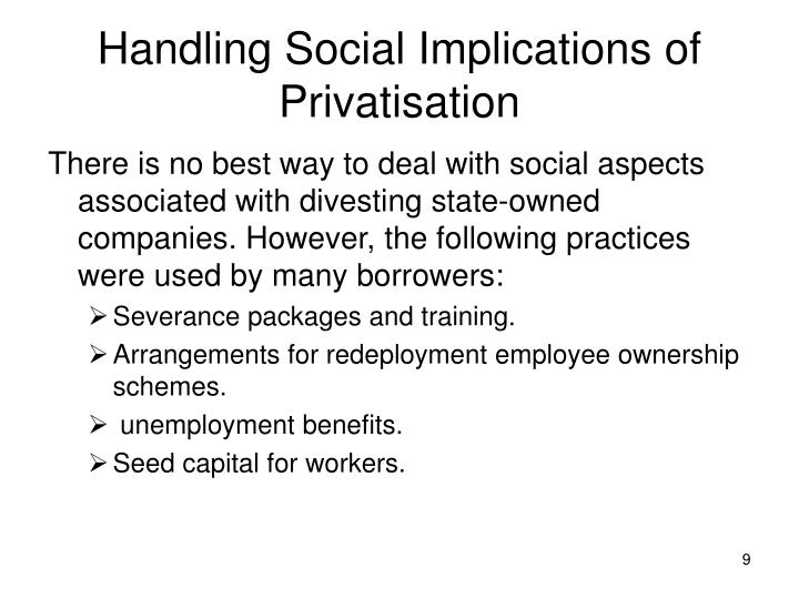 Handling Social Implications of Privatisation