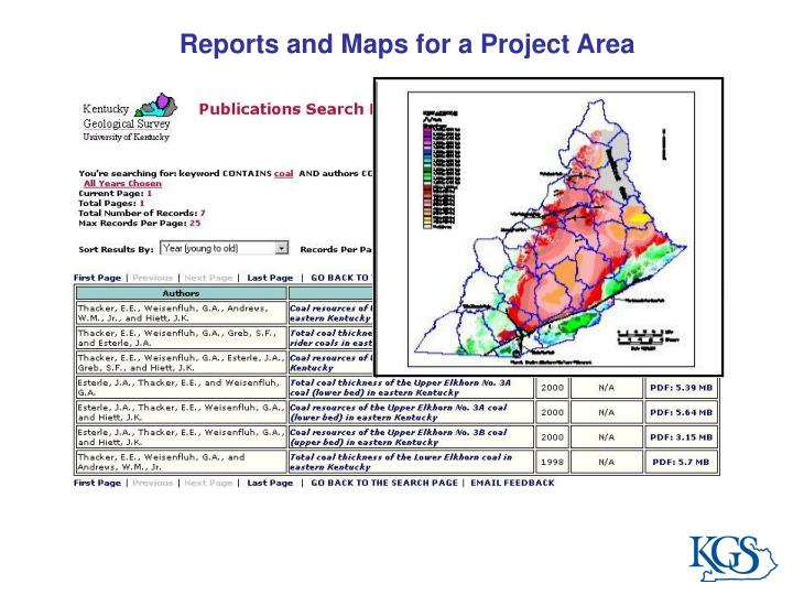 Reports and Maps for a Project Area