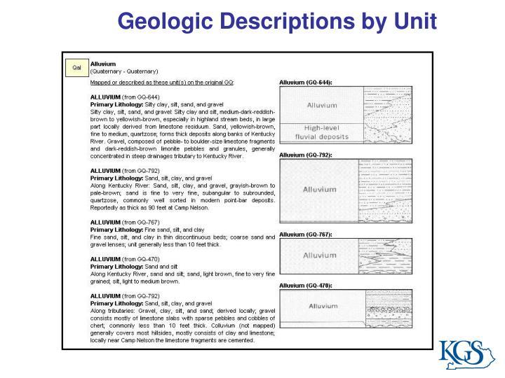 Geologic Descriptions by Unit
