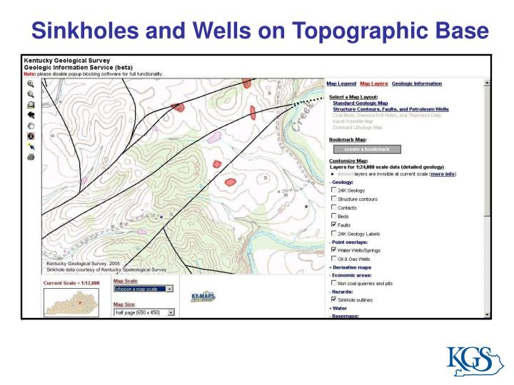 Sinkholes and Wells on Topographic Base