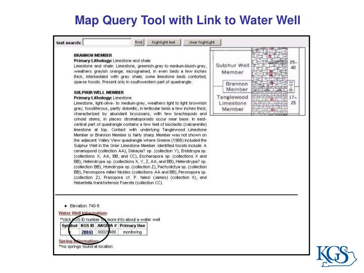 Map Query Tool with Link to Water Well