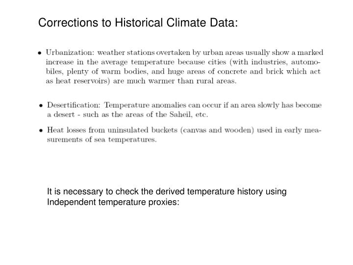 Corrections to Historical Climate Data: