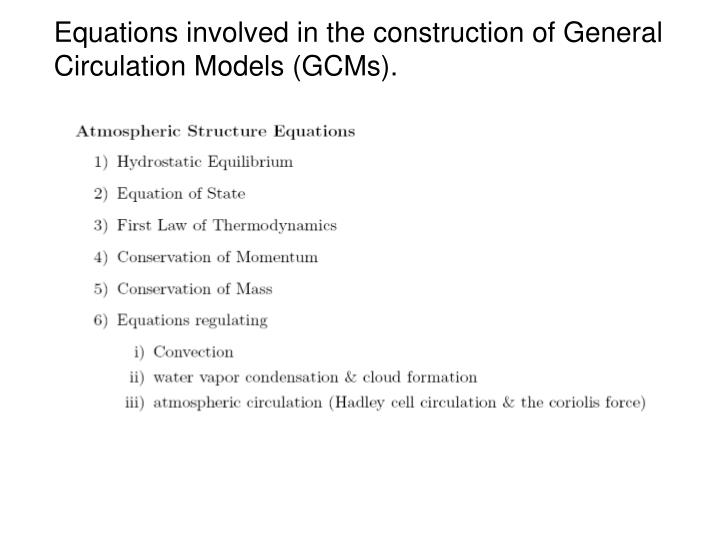 Equations involved in the construction of General