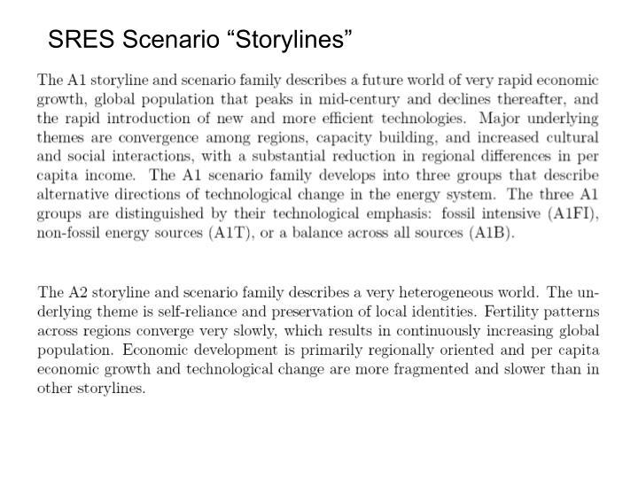 """SRES Scenario """"Storylines"""""""