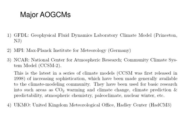 Major AOGCMs