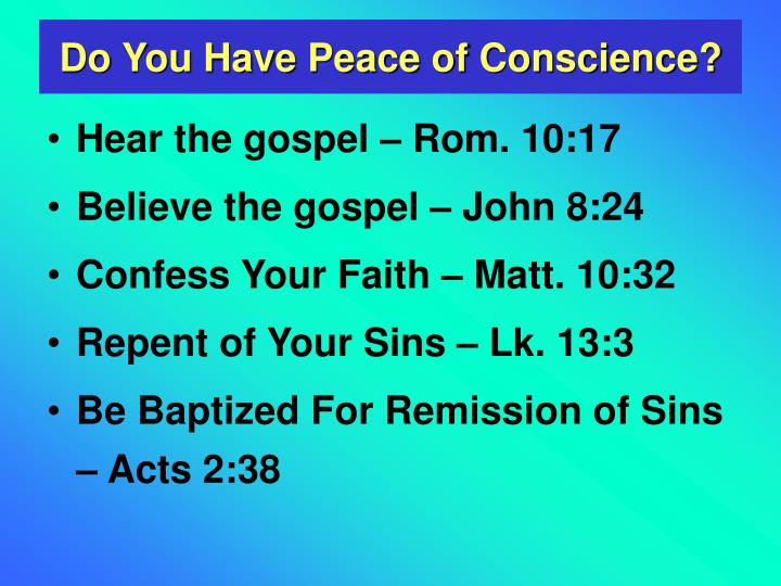 Do You Have Peace of Conscience?
