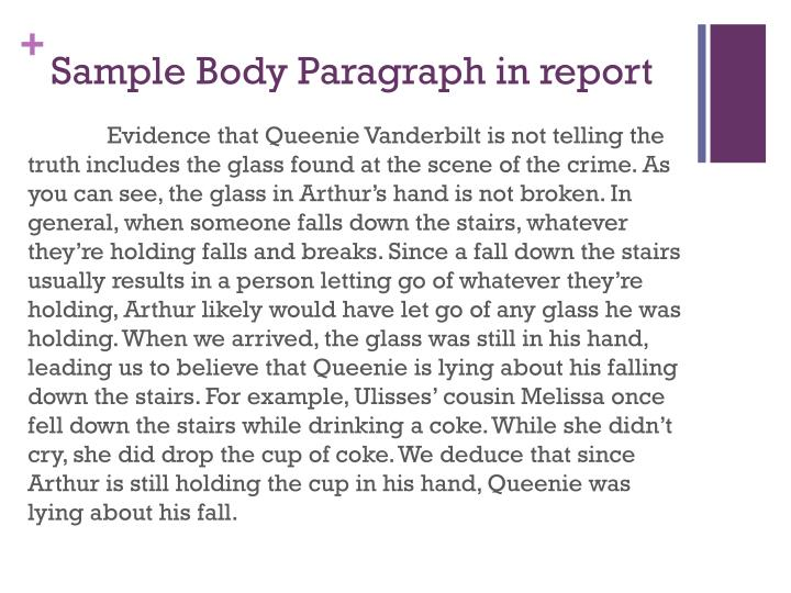 Sample Body Paragraph in report