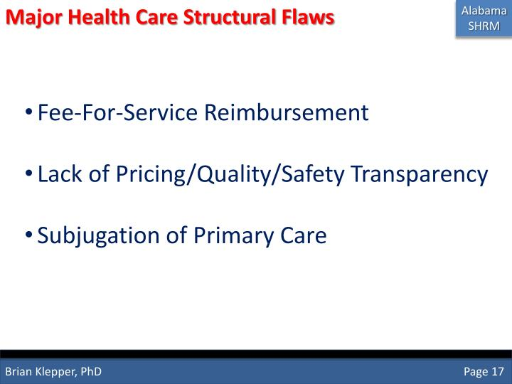 Major Health Care Structural Flaws