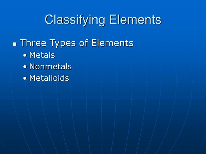 Classifying Elements