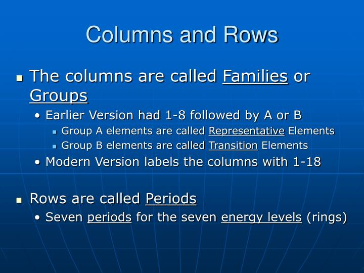 Columns and Rows