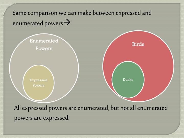 Same comparison we can make between expressed and enumerated powers