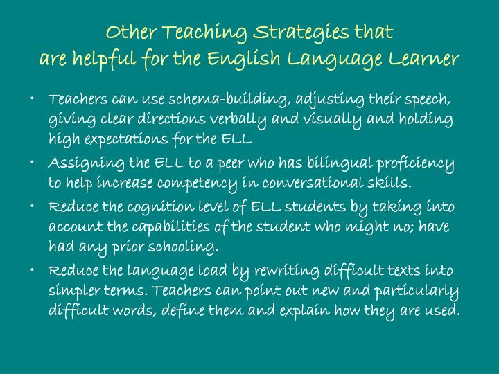 Other Teaching Strategies that
