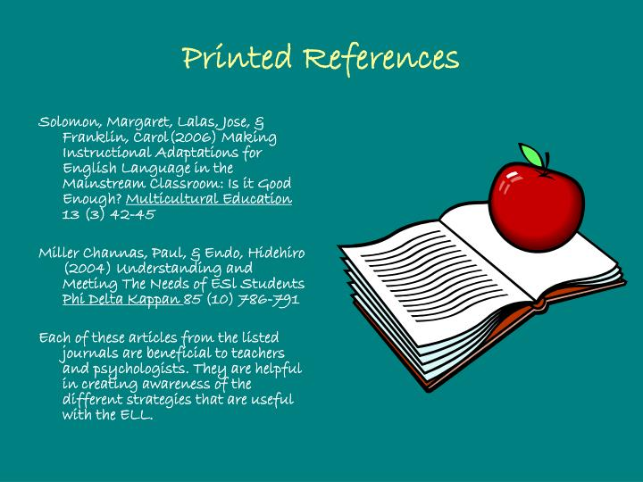 Printed References