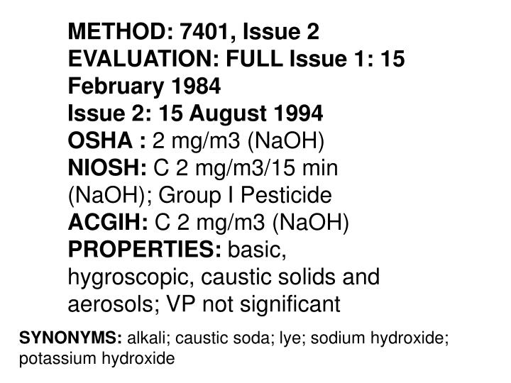 METHOD: 7401, Issue 2 EVALUATION: FULL Issue 1: 15 February 1984