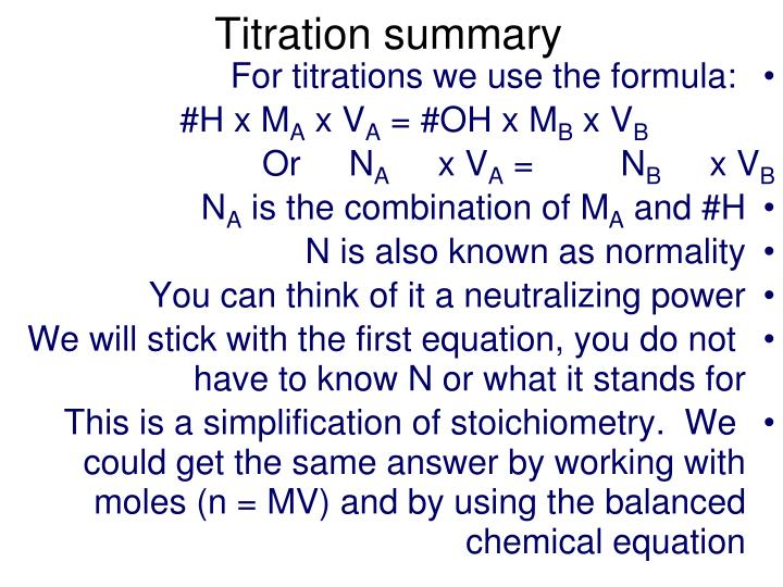 Titration summary