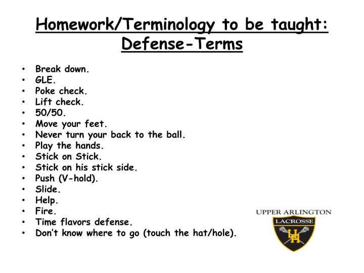 Homework/Terminology to be taught: