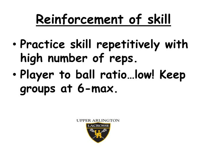 Reinforcement of skill