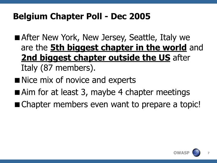 Belgium Chapter Poll - Dec 2005