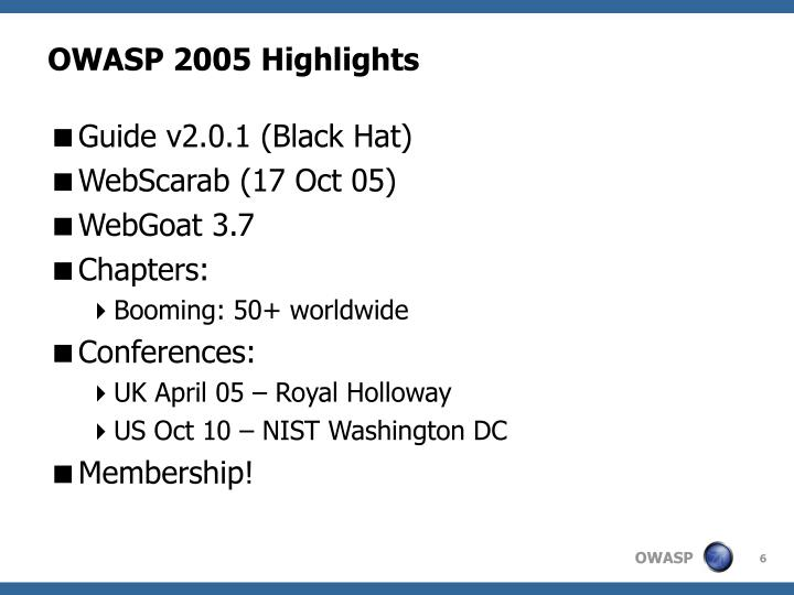 OWASP 2005 Highlights
