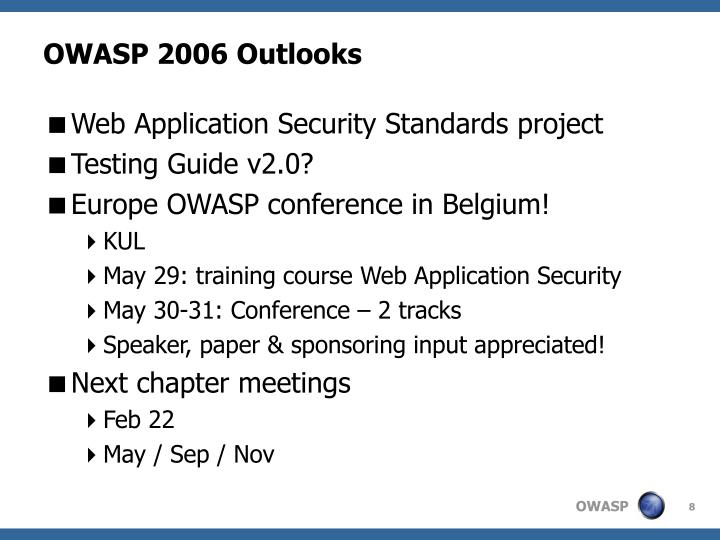OWASP 2006 Outlooks