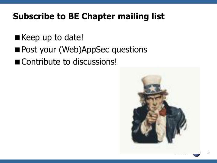 Subscribe to BE Chapter mailing list
