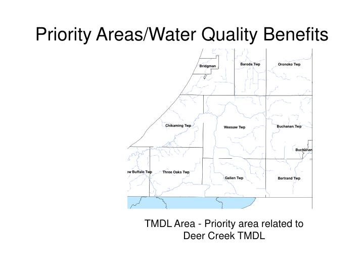 Priority areas water quality benefits