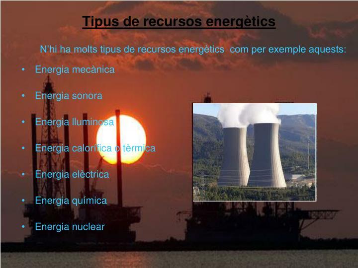 Tipus de recursos energètics