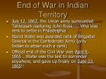 end of war in indian territory