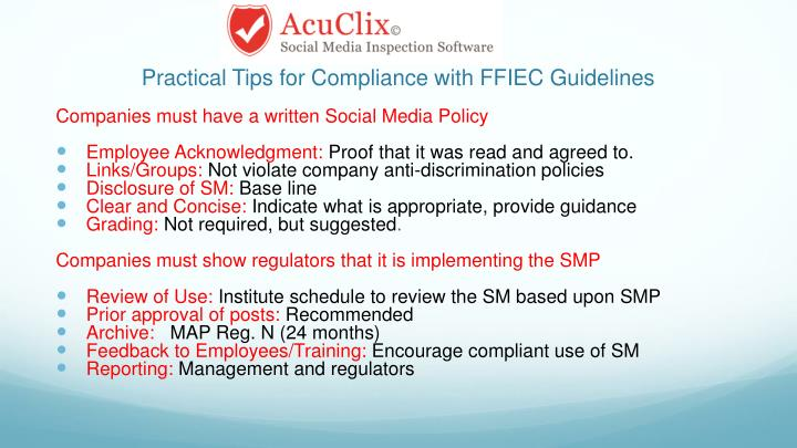 Practical Tips for Compliance with FFIEC Guidelines