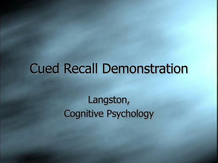Cued Recall Demonstration